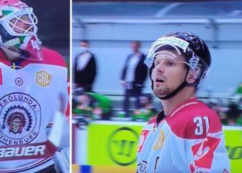 Niklas Rubin och Nicklas Lasu, framträdande när Frölunda 4-1-besegrade Mlada Boleslav i CHL. Foto: SVT (skärmdump)