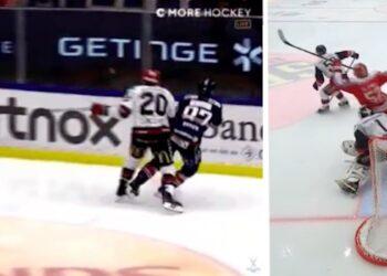 Joel Lundqvist vs Robert Rosén samt Christopher Liljewall vs David Rautio. Foto: C MORE (skärmdumpar).
