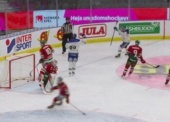 Godnatt, Frölunda. Här har Leksand gjort ett av sina fyra mål på Matt Tomkins. Foto: C MORE (skärmdump)