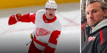 Lucas Raymond har stått ut i inledningen av NHL-säsongen för sitt Detroit. Niklas Kronwall uttalar sig i texten nedan. Foto (Raymond): NHL.COM