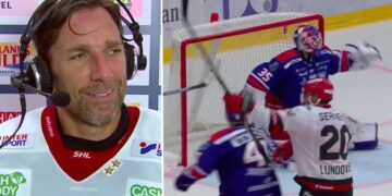 Kaptenen avgjorde, passet från isens offensive gigant. Ryan Lasch till Joel Lundqvist, alltså. Foto: C MORE (skärmdump)
