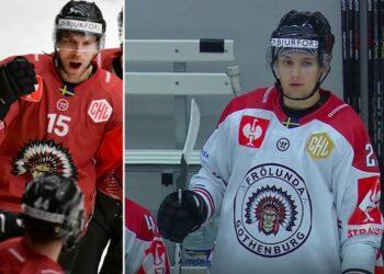 Till vänster hur Frölunda (Anders Grönlund) såg ut i CHL för några år sedan, till höger (Linus Nässén) en bild från i går. Foto: SVT (skärmdump)